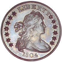 """Known as """"The King of U.S. Coins,"""" the 1804 dollar is extremely rare, with only 15 known examples. No U.S. dollars dated 1804 actually were struck in that year; Class I specimens were struck in 1834-5 as diplomatic gifts (8 known), while Class II (unique) and III specimens (6 known) were struck during the 1850s for collectors.    For more: http://worldsfairofmoney.com/museum-showcase/the-idlerbebee-class-iii-specimen-1804-dollar.aspx#"""