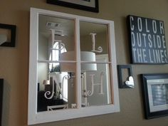 Mirrored window with letters http://diylori.blogspot.com/2013/03/letters-words-phrases-not-just-for.html