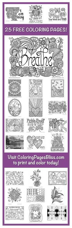 FREE coloring pages for adults. Visit ColoringPagesBlis... to download and print 25 beautiful coloring pages. Hand drawn by Jennifer Stay, these PDF coloring pages are ideal for stress relief, creative expression, and fun! Also find, over 100 other coloring pages for grown ups on her website. Jennifer is always adding more so follow her on Facebook and Pinterest so you never miss any free coloring pages.