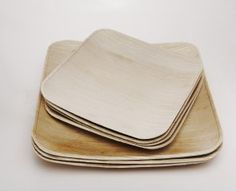 Palm leaf disposable, biodegradable plates.  SOOOO much nicer than paper plates for a barbeque wedding.
