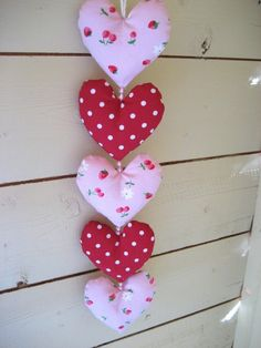 Pretty Polka Dot and cherries  Fabric Heart by RubyRedcrafts, $9.00