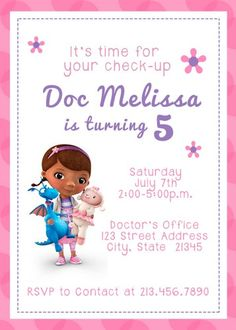 free templates invitations/ doc mcstuffins - Google Search