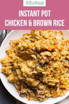 Instant Pot Chicken and Rice - iFOODreal My Instant Pot Chicken and Rice is simple Ukrainian pilaf (plov) recipe with onion, carrot, boneless chicken and brown rice. Each grain is separate, kids love it and it's so good you could entertain with it. Instant Pot Chicken And Rice Recipe, Chicken And Brown Rice, Instant Pot Dinner Recipes, Instant Recipes, Chicken Rice, Healthy Chicken, Recipes Dinner, Lunch Recipes, Pressure Cooker Chicken