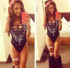 DIY bodysuit with flower crown for EDC, Burning Man or any festival you are atte… - Leotards Ultra Festival, Rave Festival, Festival Looks, Festival Wear, Festival Fashion, Edm Outfits, Rave Girl Outfits, Electric Daisy Carnival, Rave Bra