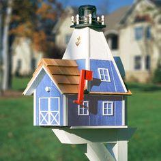 The same beautiful lighthouse custom mailbox, but in blue.  #custom #mailbox #mailboxes