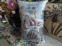 RED RIDING HOOD'S GRANNIE PILLOW VINTAGE FROM OLD BOOK FROM 1800'S only $15