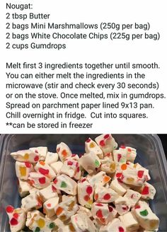 Gumball nougat candy - like little stained glass candies Fudge Recipes, Candy Recipes, Holiday Recipes, Dessert Recipes, Holiday Treats, Nut Recipes, Party Treats, Holiday Foods, Homemade Sweets