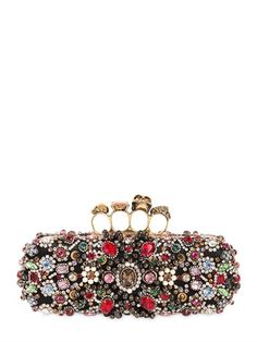 ALEXANDER MCQUEEN LONG SILK SATIN KNUCKLE BOX CLUTCH