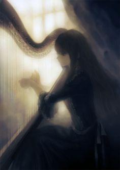 anime girl playing the harp