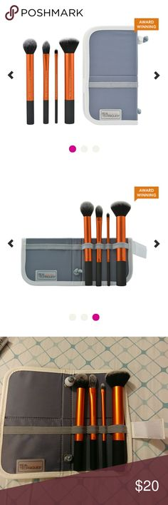 REAL TECHNIQUES 4 pc Brush set with case Brand new never used Includes:       Contour brush       Pointed foundation brush       Detailer brush       Buffing brush       Standing foldable case perfect for hanging brushes       upside down to dry Real Techniques Makeup Brushes & Tools