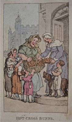 """""""Hot Cross Buns"""" from """"Characteristic Sketches of the Lower Orders"""" by Thomas Rowlandson (1820)"""