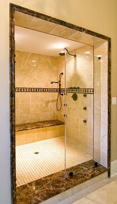 Walk-in shower from the Heatherstone Plan 5016 http://www.dongardner.com/plan_details.aspx?pid=3332 With its masterful architecture and lavish conveniences, The Heatherstone captures the essence of grand living, blending style and grace. #Luxury #Home #Designs #Shower