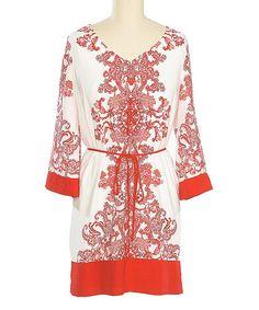 Love this Red & White Damask Shift Dress by brandon & ashley on #zulily! #zulilyfinds