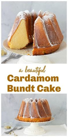 A simple cake, this Cardamom Bundt has one of the best textures I have ever come across in bundt cakes. Dense, sweet but not heavy, it is scented with cardamom and sprinkled with powdered sugar. A wonderful holiday cake. Baking Recipes, Cake Recipes, Dessert Recipes, Food Cakes, Cupcake Cakes, Cupcakes, Just Desserts, Delicious Desserts, French Desserts