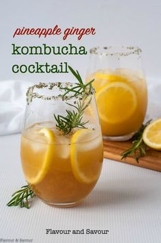 We added some vodka and used pineapple cayenne kombucha. // This Pineapple Ginger Kombucha Cocktail is a refreshing non-alcoholic (or alcoholic) drink made with probiotic-rich kombucha. Quick and easy make with store-bought kombucha. Healthy Cocktails, Easy Cocktails, Cocktail Recipes, Yummy Drinks, Summer Cocktails, Healthy Smoothies, Drink Recipes, Pina Colada, Clean Eating Recipes