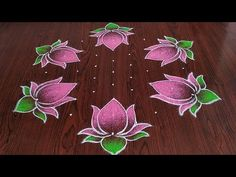 Indian Rangoli Designs, Rangoli Designs Flower, Rangoli Border Designs, Rangoli Ideas, Kolam Designs, Lotus Rangoli, Kolam Rangoli, Rangoli With Dots, Simple Rangoli