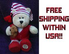 "NEW NWT STARBUCKS Bearista Plush Doll Toy 68th 2007 Bear PAJAMAS CHRISTMAS 10"" #StarbucksCoffee"