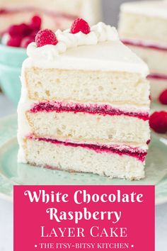 White chocolate raspberry cake will be your new go-to dessert. It features sweet white chocolate cake layers, a tart raspberry filling, and plenty of white chocolate buttercream.Try to stop at one slice! recipe via itsybitsykitchen.com #whitechocolate #layercake #raspberry