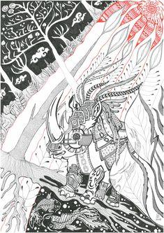 Rhino, graphics, Japan Black And White Drawing, Graphics, Japan, Drawings, Cards, Graphic Design, Sketches, Printmaking, Maps
