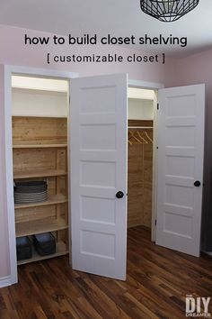 How to build closet shelving. DIY Customizable Closet with plank walls. DIY closet makeover. #shelving #closetorganization #closetmakeover