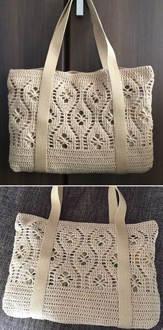 Flower Tote - Free Crochet Pattern (Beautiful Skills - Crochet Knitting Quilting) - - Photos above ATELIER matiThis crochet pattern / tutorial is available for free. Free Crochet Bag, Crochet Tote, Crochet Handbags, Crochet Purses, Crochet Crafts, Bag Pattern Free, Crochet Decoration, Shopper, Knitted Bags