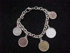 .925 STERLING SILVER BRACELET W/ FOREIGN COINS BAHAMAS CAYMAN ISLANDS BARBADOS