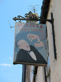 Murder and Mayhem, Hay-on-Wye, Wales, UK. Hay-on-Wye is Wales' National Book Town. Murder and Mayhem bookstore specializes in crime and detective fiction.