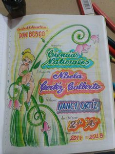 Carátulas niña Project Cover Page, Front Page Design, Page Decoration, Diy Back To School, Decorate Notebook, My Notebook, Cover Pages, Art Sketches, Diy And Crafts