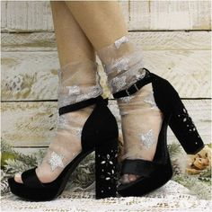 STARRY NIGHT sheer tulle sock for heels - silver, stars slouchy socks, sheer socks, socks heels, party wear Fishnet Socks, Sheer Socks, Lace Socks, Socks And Heels, Ankle Socks, Silver Heels, Black Heels, Fish Net Tights Outfit, Wedding Socks
