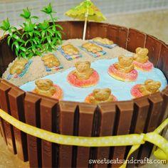 Beach Party Kit Kat Cake Yummy Treats, Delicious Desserts, Sweet Treats, Creative Desserts, Creative Cakes, Luau Desserts, Cake Recipes, Dessert Recipes, Beach Cakes