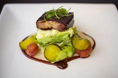 Picnic Salad (BBQ pork belly, potato salad, maple butter bean, dill pickle.)