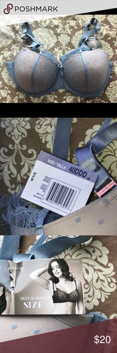Curvy 40DDD bra and 3X/10 panty set plus size Beautiful brand new set! Was gifted to me but it's not my sizes! Powder blue and nudes. Bra is underwire, Soft lace and cute double strap design. Panties are cheeky style and have adorable bows on the back ! smart & sexy Intimates & Sleepwear Bras