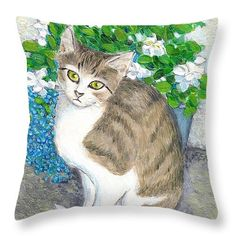 "A Cat And Flowers Throw Pillow 14"" x 14"""
