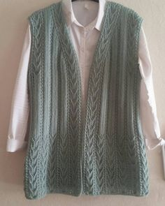 Hand Knitting Women's Sweaters - Knitted Women's Vest, Cardigan, Sweater Crochet Cardigan, Knit Crochet, Sweater Cardigan, Knit Vest Pattern, Jamel, Mode Hijab, Knitting For Beginners, Knitting Designs, Crochet Clothes