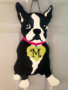 Monogrammed Boston Terrier Door Hanger by KnockKnockRVA on Etsy Boston Terrier Kunst, Boston Terrier Love, Boston Terriers, Terrier Breeds, Terrier Puppies, Bulldog Puppies, Pet Corner, Craft Corner, Dog Quotes