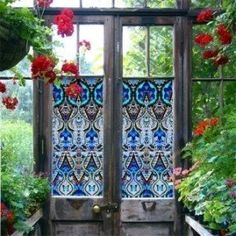 For window in door to Moroccan/Indian/Boho bathroom? Can get frosted or unfrosted version