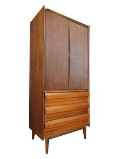 Lane Mid-Century Walnut Highboy/Armoire on Chairish.com