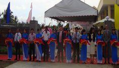 Nhà bạt trong Lễ khánh thành trạm tăng áp qua cầu Hàm Luông