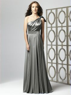 One shoulder matte satin and lux chiffon full length dress with draped bodice and full skirt.