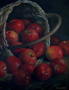 JEANNE ILLENYE - Still Lifes: classical oil painting overturned basket of apples in grass realism capturing nature's transient beauty