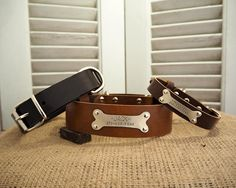 Leather Dog Collar, Dog Collar, Brown Leather Collar, Personalized Leather Dog Collar, Pet Gifts, Dogs Name Plate,id Tag, Free ID Tag. by VacForPets on Etsy