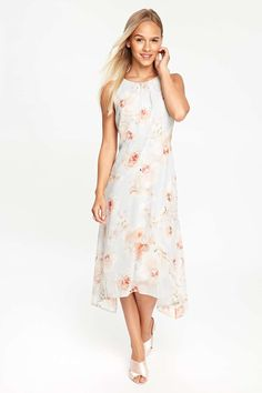 Petite Grey Floral Print Fit And Flare Dress - Dresses - Clothing - Wallis Europe