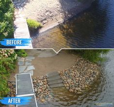 Our Work - Riprap Shoreline Photo Gallery Lake Dock, Lake Beach, Boat Dock, Lake Landscaping, Landscaping Ideas, Lakefront Homes, Lake Cabins, House Landscape, River House
