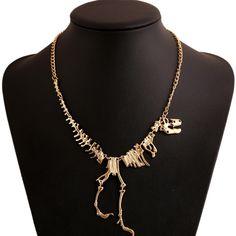 Goth Alliage Squelette De Dinosaure Morts Tyrannosaurus T-Rex Charme Collier Collier Ras Du Cou Pour Femmes Bijoux Collier Livraison Gratuite