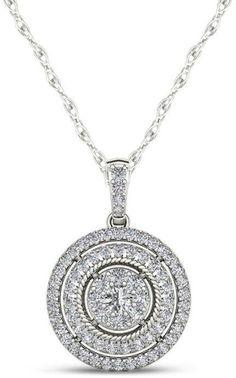 Composite Diamond Double Frame Pendant in White Gold Double Frame, Rope Chain, Diamond Pendant, Composition, White Gold, Pendants, Pendant Necklace, Silver, Jewelry