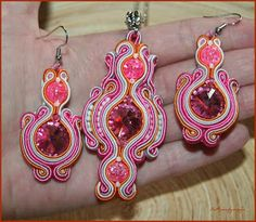 Pink - narancs sujtás szett swarovskival Drop Earrings, Pink, Jewelry, Fashion, Moda, Jewlery, Bijoux, Fashion Styles, Schmuck