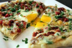 Huevos Rancheros Mashed Potato Pizza: Mashed Potatoes Bacon (or shredded carnitas or carne asada) Jalapeno Diced Tomato Onion Salsa Pepper J...