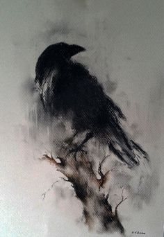 Charcoal Drawing Design Original Raven Drawing Charcoal Black and White Art Halloween Gothic Crow on a Branch - Crow Art, Raven Art, Charcoal Art, Charcoal Drawing, Charcoal Black, Charcoal Sketch, Corvo Tattoo, Vogel Illustration, Art Halloween
