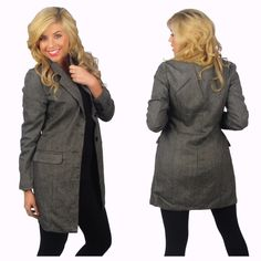 "NWOT✨Black/Gray Wool Single Breasted Coat. This coat is absolutely gorgeous  With it light weight looks great for business attire and casual. Imported  M, L the Medium is sold out 90% Polyester 10% Wool  Black/Gray.  Model is wearing size: M Model's Measurements:  Bust: 36"", Waist: 28"", Hips: 38"", Height: 5' 8"". Boutique Jackets & Coats"