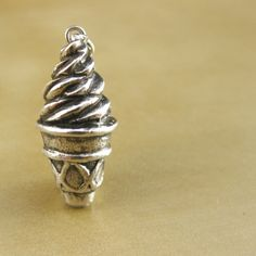 "Ice Cream Cone Sterling Silver Charm - ""Twist and Shout"""